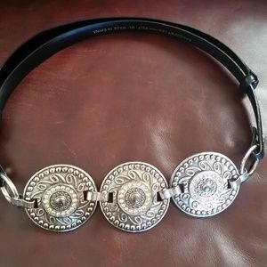 Chico's Silver Concho and Leather Belt